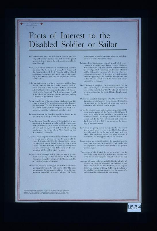 Facts of interest to the disabled soldier or sailor     – Works