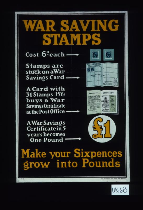 War Saving Stamps Cost 6d Each Stamps Are Stuck On A War Savings
